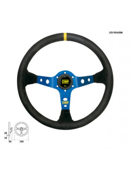 OMP DISHED STEERING WHEEL CORSICA ANODIZED BLUE SPOKES