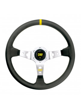 OMP DISHED STEERING WHEEL CORSICA GRAY AND SMOOTH LEATHER