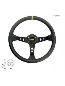 OMP DISHED STEERING WHEEL CORSICA BLACK AND SMOOTH LEATHER