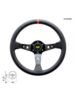 OMP DISHED STEERING WHEEL CORSICA RED STITCHING