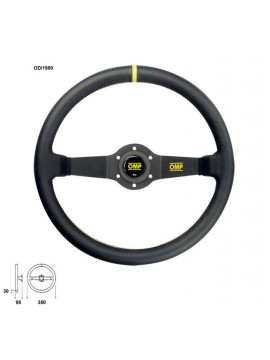 OMP RALLY STEERING WHEEL 2 BLACK SPOKES SMOOTH LEATHER