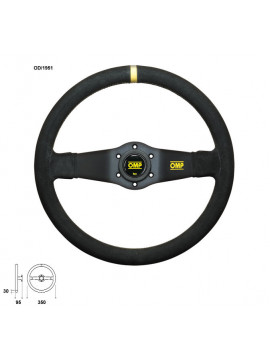 OMP RALLY STEERING WHEEL 2 BLACK SPOKES SUEDE LEATHER